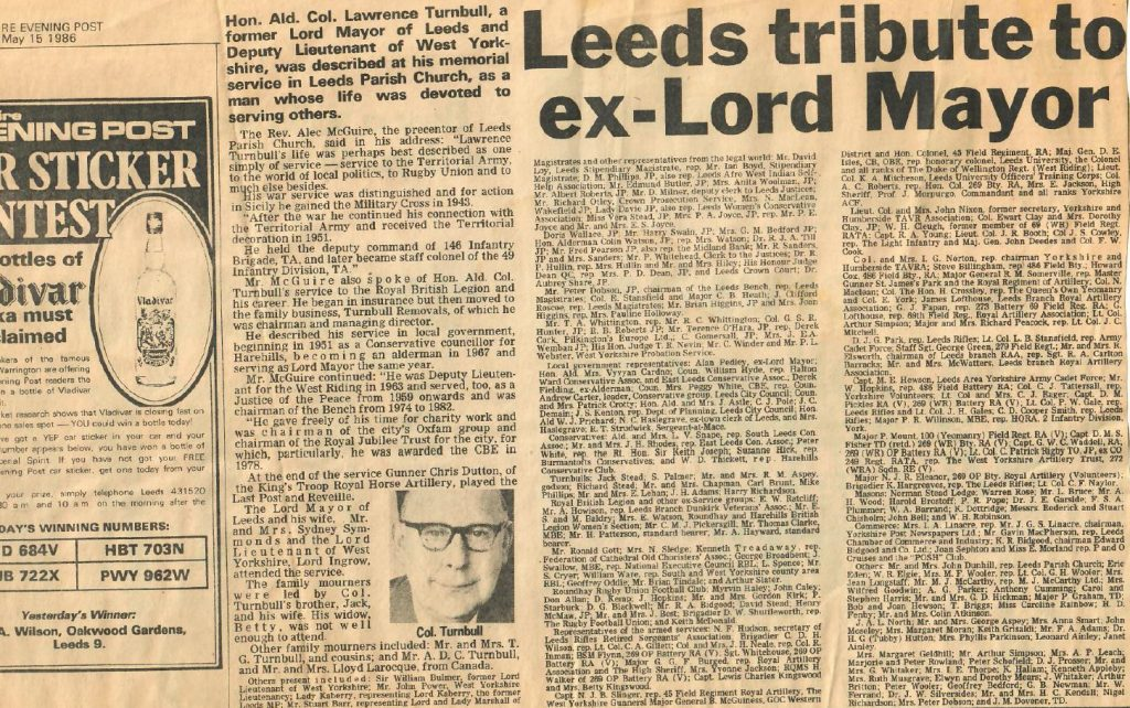 1986 Lawrence Turnbull Article Yorkshire Post