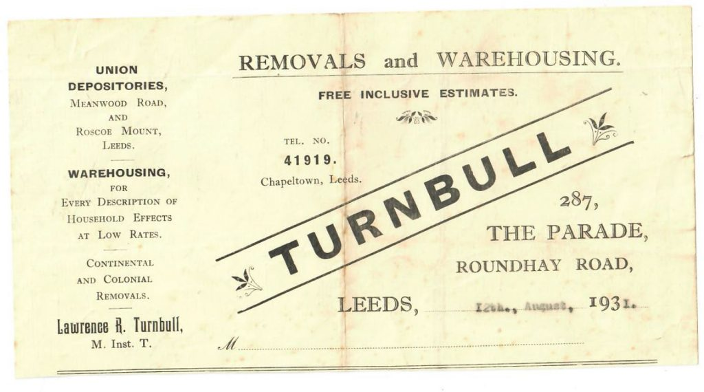 1931 Turnbull's Removals Flyer